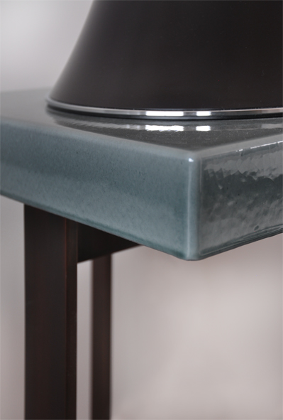ANGUNG side table / enameled lava stone from Volvic mountains